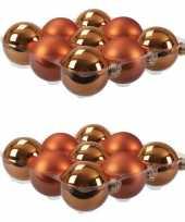 18x glazen kerstballen mat glans goudsbloem oranje 10 cm