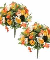 2x geel oranje rozen rosa mix boeketten kunstbloemen 30 cm