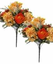 2x oranje hortensia rozen pioenrozen hydrangea rosa paeonia mix boeketten kunstbloemen 35 cm