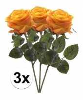 3 x kunstbloemen steelbloem geel oranje roos simone 45 cm