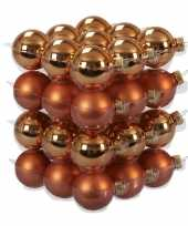 36x glazen kerstballen mat en glans goudsbloem oranje 4 cm