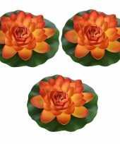 3x oranje waterlelie kunstbloemen vijverdecoratie 26 cm