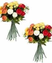 3x stuks oranje wit ranunculus ranonkel kunstbloemen 35 cm decoratie