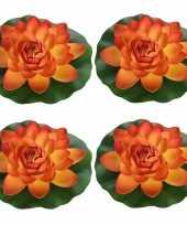 4x oranje waterlelie kunstbloemen vijverdecoratie 18 cm