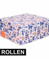 4x rol met blauw wit oranje sinterklaas inpak papier