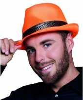 4x stuks oranje trilby hoed met gouden band