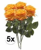 5 x kunstbloemen steelbloem geel oranje roos simone 45 cm