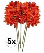 5x kunstbloemen steelbloem oranje gerbera 47 cm