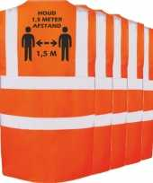 5x oranje corona veiligheidsvesten 1 5 meter afstand werkkleding voor volwassenen