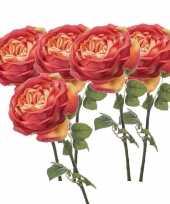 5x oranje kunstroos kunstbloemen 66 cm decoratie