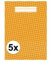 5x schoolspullen schrift a4 gelinieerd oranje