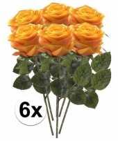 6 x kunstbloemen steelbloem geel oranje roos simone 45 cm