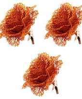 6x glitter bloemen op clip oranje 10 cm feestversiering