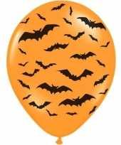 6x mat oranje ballonnen met zwarte vleermuis print 30 cm halloween feest party versiering