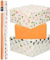 6x rollen kraft inpakpapier flamingo pakket oranje wit goud roze flamingo 200 x 70 cm