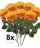 8 x kunstbloemen steelbloem geel oranje roos simone 45 cm