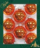 8x glanzende oranje kerstballen van glas 7 cm
