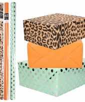 8x rollen transparante folie inpakpapier pakket panterprint oranje mintgroen met stippen 200 x 70 cm