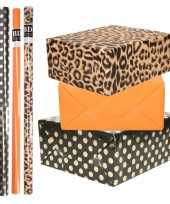 8x rollen transparante folie inpakpapier pakket panterprint oranje zwart met stippen 200 x 70 cm