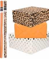 9x rollen kraft inpakpapier folie pakket panterprint oranje wit met zilveren stippen 200 x 70 cm