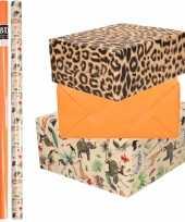 9x rollen kraft inpakpapier jungle panter pakket dieren luipaard oranje 200 x 70 cm