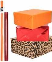 9x rollen kraft inpakpapier pakket dierenprint metallic rood en oranje 200 x 70 50 cm