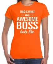 Awesome boss fun t-shirt oranje voor dames