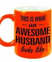 Awesome husband echtgenoot fluor oranje cadeau mok verjaardag beker 330 ml