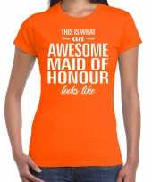 Awesome maid of honour kado t-shirt oranje voor dames