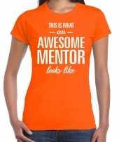 Awesome mentor fun t-shirt oranje voor dames bedankt cadeau voor een mentor