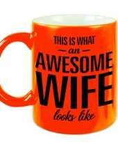 Awesome wife echtgenote fluor oranje cadeau mok verjaardag beker 330 ml