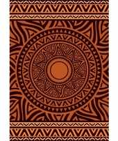 Badlaken xl met bruin oranje mandala print zaka voor volwassenen 140 x 200