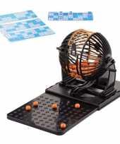 Bingospel zwart oranje 1 90 met bingomolen en 48 bingokaarten