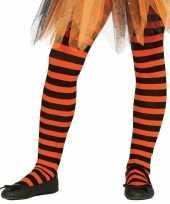Feest party gestreepte heksen panty maillot zwart oranje voor meisjes