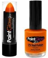 Fel neon oranje holland lippenstift lipstick en nagellak uv glow in the dark