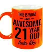 Fluor oranje awesome 21 year cadeau mok verjaardag beker 330 ml