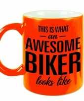 Fluor oranje awesome biker cadeau mok verjaardag beker 330 ml