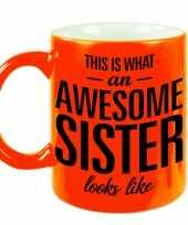 Fluor oranje awesome sister cadeau mok beker voor je zus 330 ml