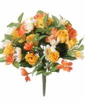 Geel oranje rozen rosa mix boeket kunstbloemen 30 cm