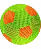 Groen met oranje mesh speelgoed bal voor kinderen 23 cm