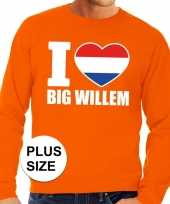 Grote maten i love big willem trui oranje heren