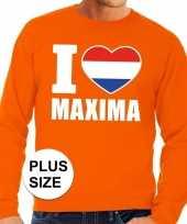 Grote maten i love maxima trui oranje heren