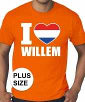 Grote maten i love willem shirt oranje heren