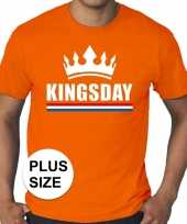 Grote maten kingsday koningsdag met kroon shirt oranje heren
