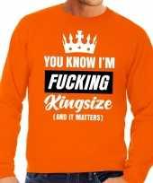 Grote maten koningsdag fucking kingsize sweater oranje heren