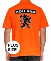 Grote maten koningsdag polo t-shirt oranje holland met grote zwarte leeuw voor heren