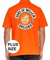 Grote maten koningsdag polo t-shirt oranje sons of willem holland mc voor heren