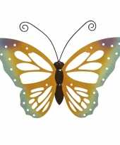 Grote oranje gele vlinders muurvlinders 51 x 38 cm cm tuindecoratie