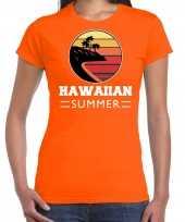 Hawaiian summer shirt party vakantie outfit kleding oranje voor dames