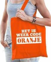 Het is weer code oranje katoenen tas voor dames